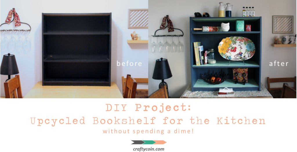 DIY Project Upcycled Bookshelf for the Kitchen without spending a dime