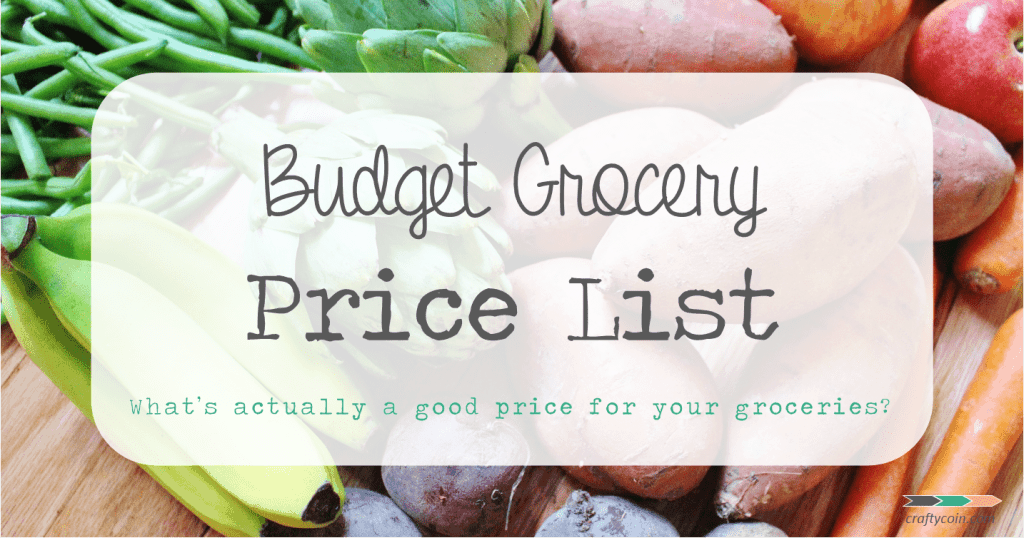 Real Food Budget Grocery Price List | Crafty Coin