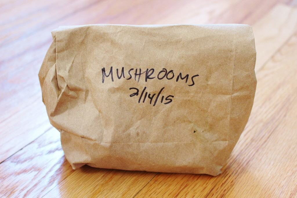 Don't let your mushrooms go bad! Storing them in a paper bag keeps them dry and fresh.