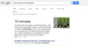 Google Cooking Times