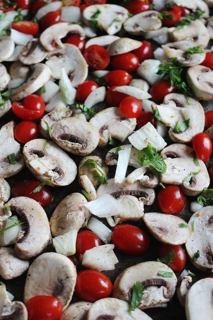 Roasted Grape Tomatoes, Mushrooms, Onion