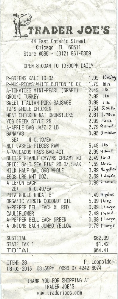 Want to know what I bought at Trader Joe's for $64.41? The proof is in the receipt.