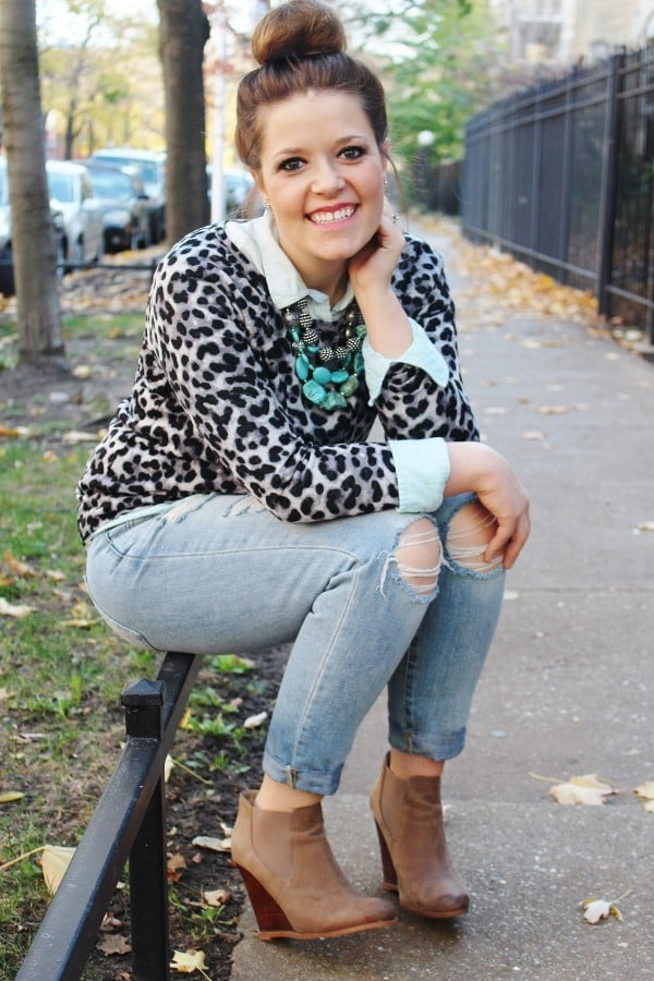Frugal Fashion: Boyfriend Jeans & Leopard Print | Crafty Coin