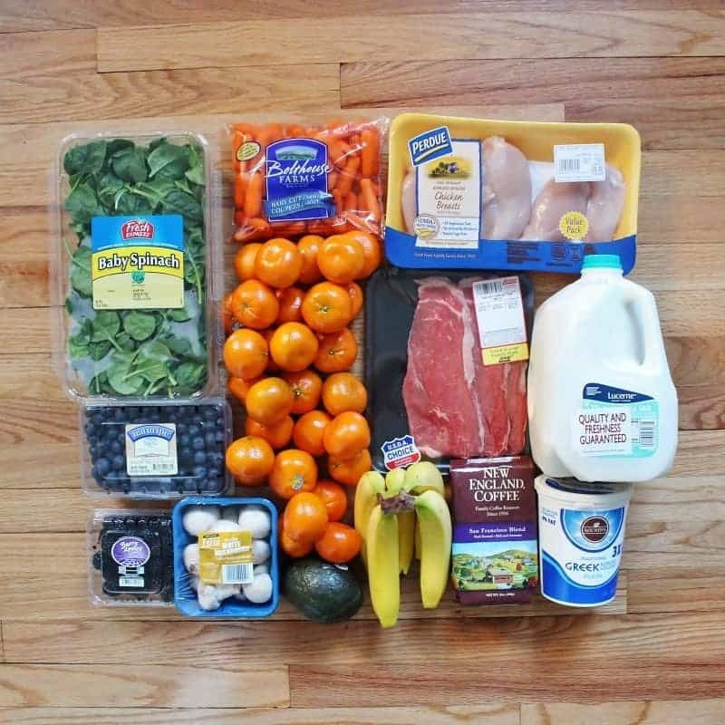 Here's what a $32 grocery haul for one lady for one week looks like!