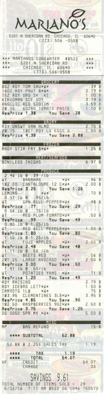 Mariano's Grocery Receipt $54.07