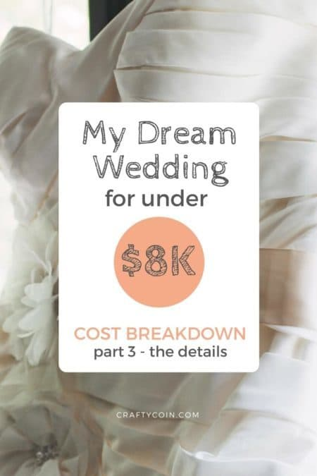 My wedding on a budget cost under $8,000. The details like my dress, flowers, and rings cost a total of $3,268. Read the full cost breakdown here.