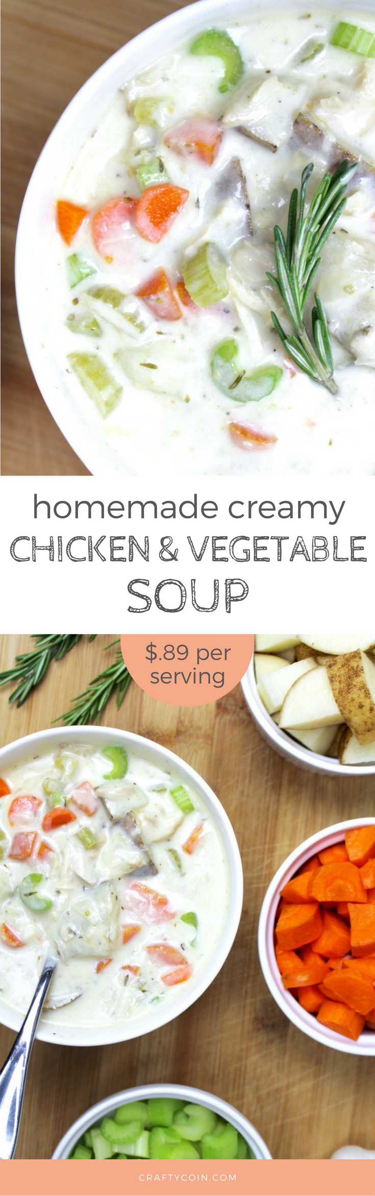 Homemade Cream of Chicken and Vegetable Soup